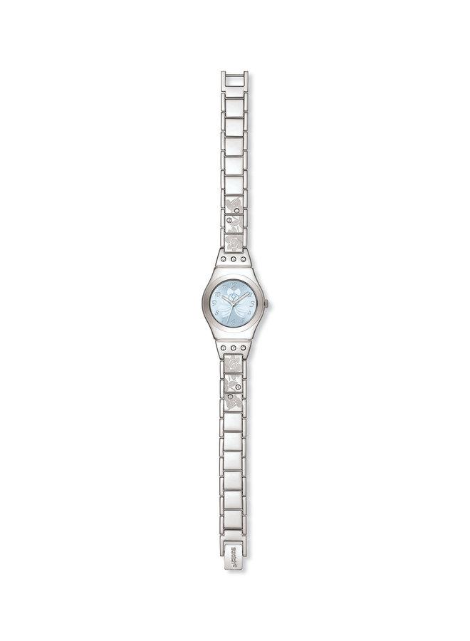 Swatch fleur acier inoxydable fond bleu zircon 25mm