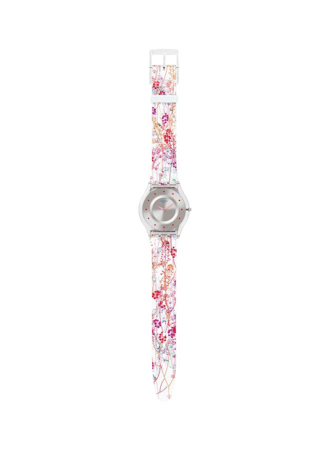 Swatch jardin fleuri fond argent bracelet silicone transparent motif fleur 34mm