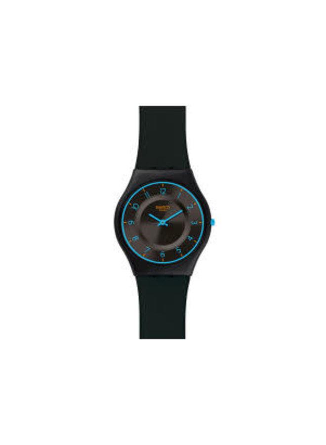 Swatch troposphere fond noir bracelet silicone noir 34mm
