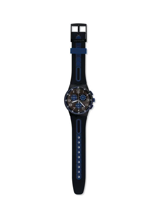 Swatch kaicco choronographe fond noir bracelet caoutchouc bleu et noir 42mm