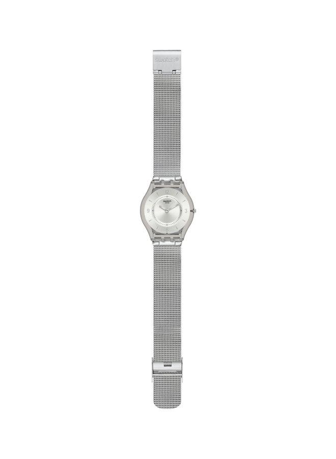 Swatch acier inoxydable fond blanc bracelet mèche acier  34mm