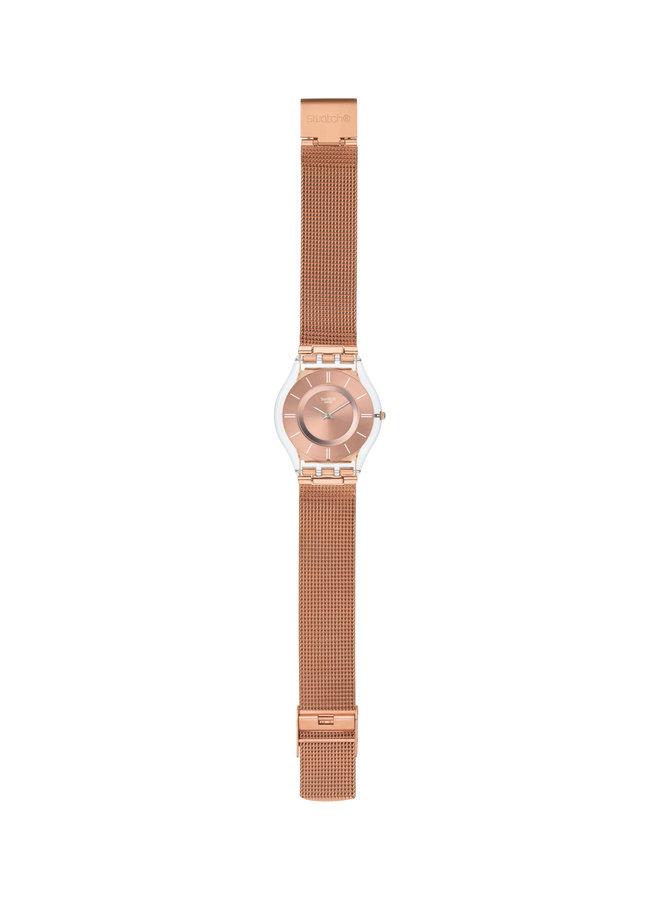 Swatch acier inoxydable rosé bracelet mèche rosé 34mm