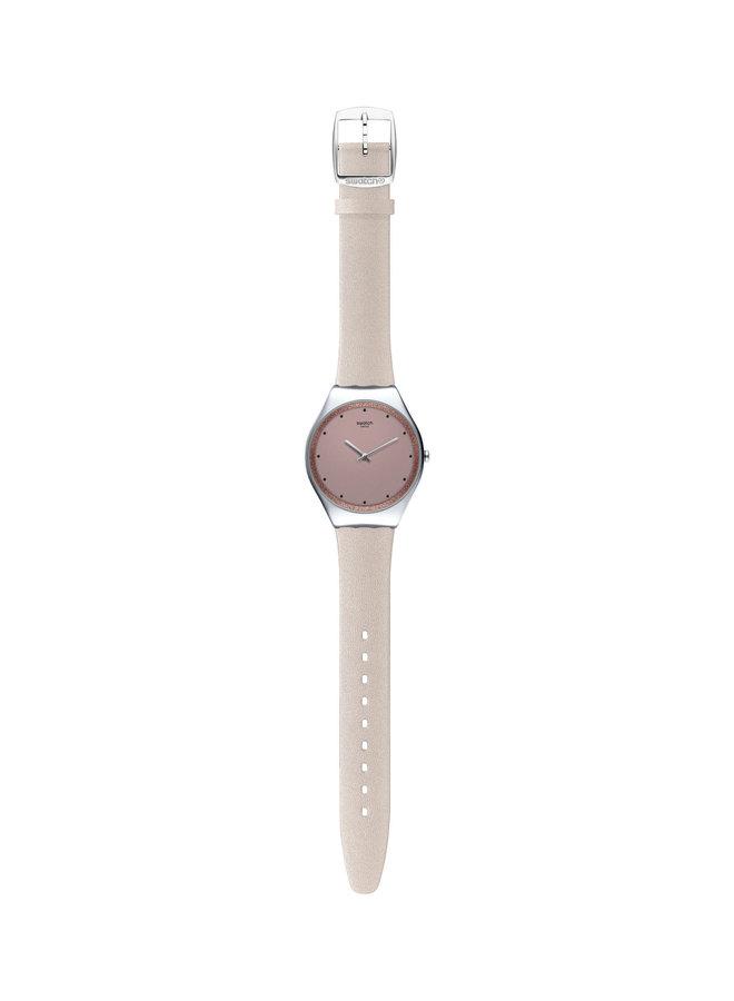 Swatch acier fond rose bracelet brillant crème 38mm