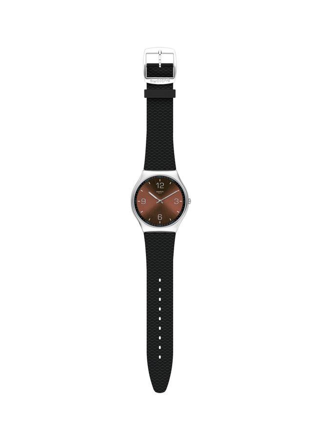 Swatch acier fond brun bracelet caoutchouc noir 42mm