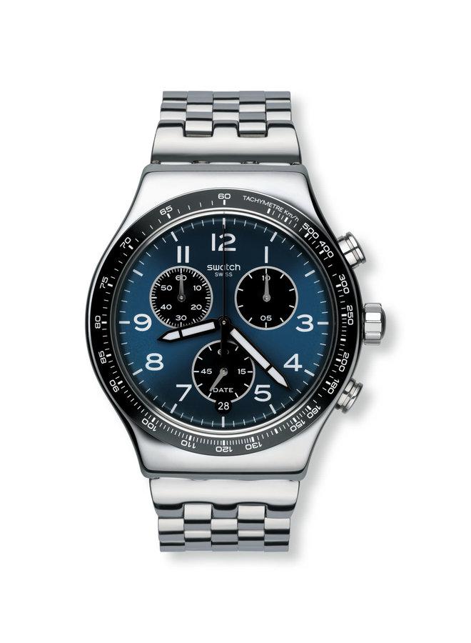 Swatch chronographe acier inoxydable fond bleu 43mm
