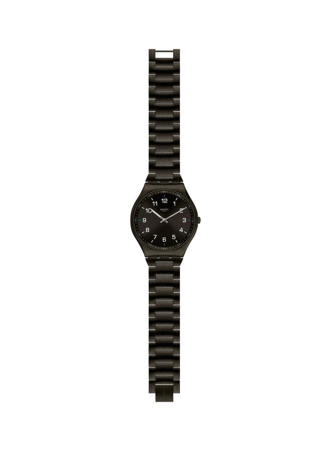 Swatch acier inoxydable noir fond noir 42mm