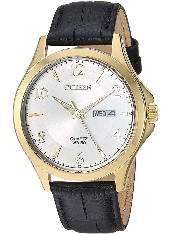 Citizen quartz acier doré fond blanc bracelet cuir noir 40mm
