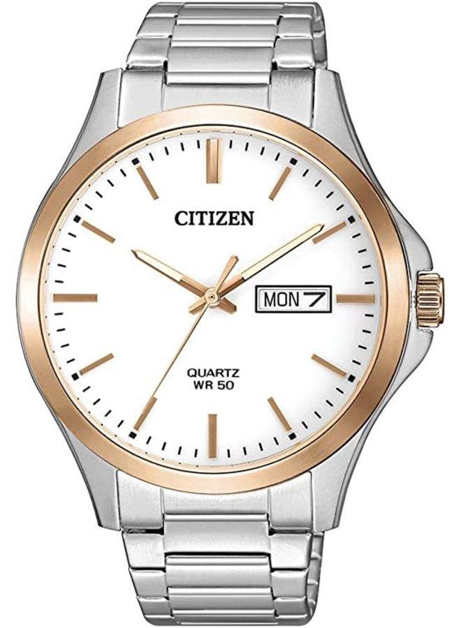 Citizen quartz acier 2 tons fond blanc 41mm