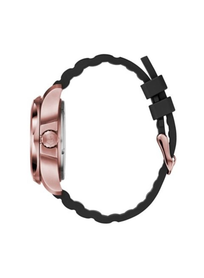 Victorinox swiss army acier rosé fond noir bracelet caoutchouc noir 37mm