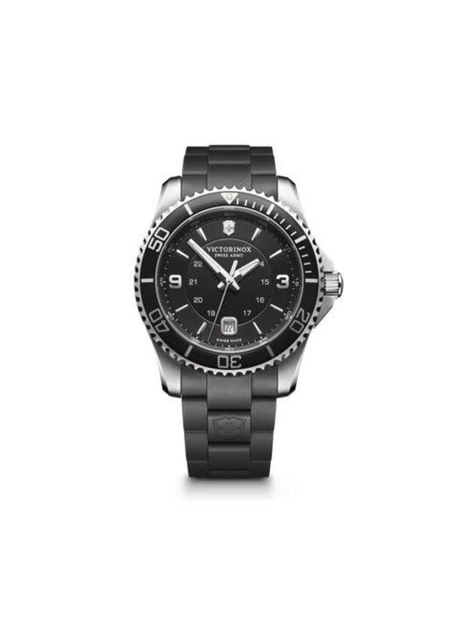 Victorinox swiss army maverick acier fond noir bracelet caoutchouc noir 43mm