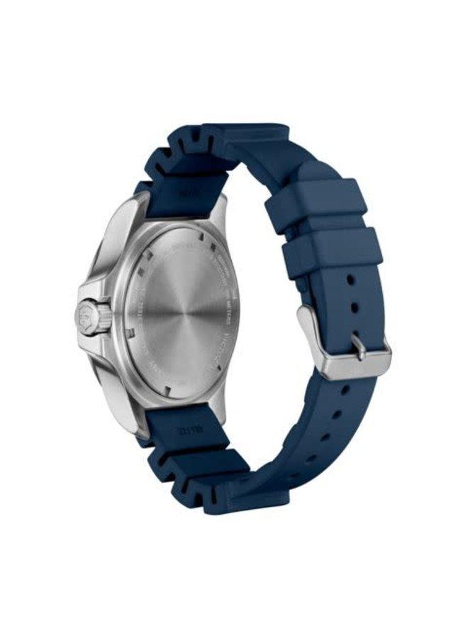 Victorinox swiss army acier fond bleu bracelet caoutchouc bleu 45mm