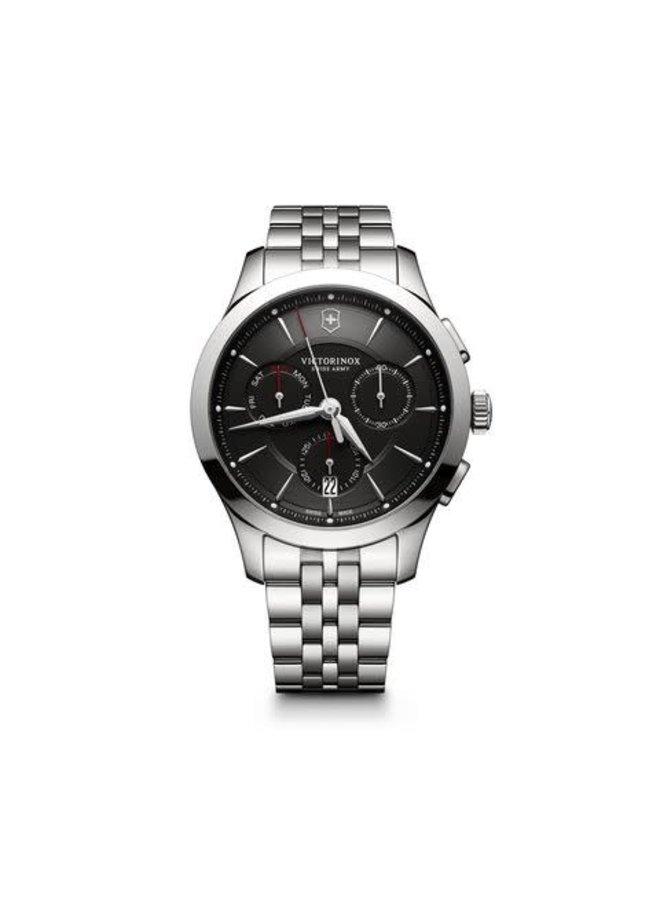Victorinox swiss army acier fond noir chronographe 44mm