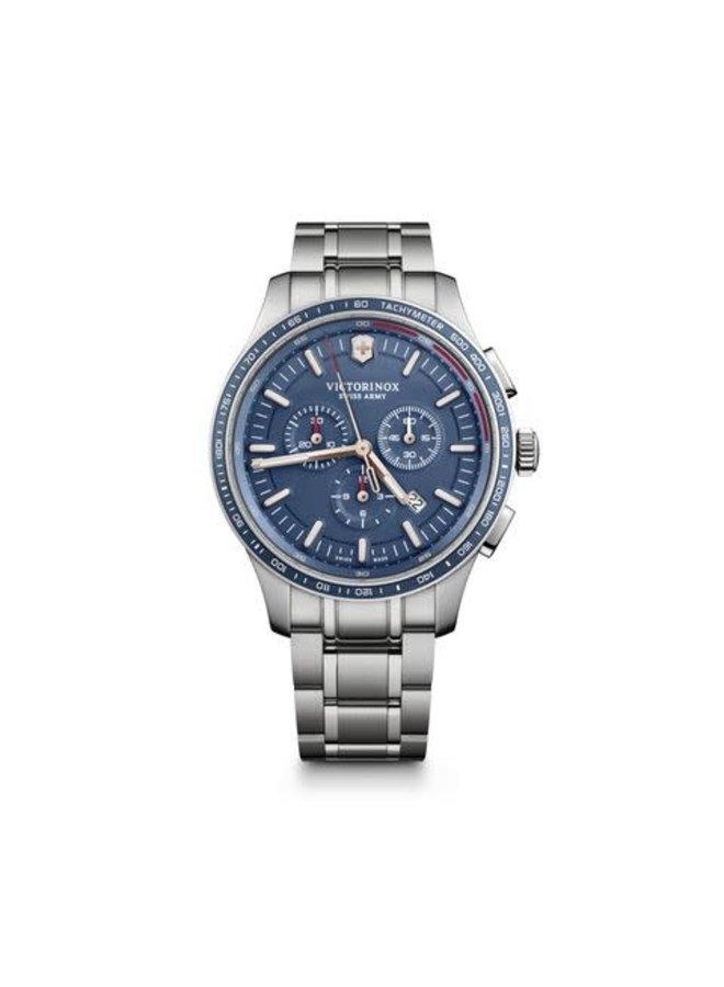 Victorinox swiss army acier fond bleu chronographe 44mm