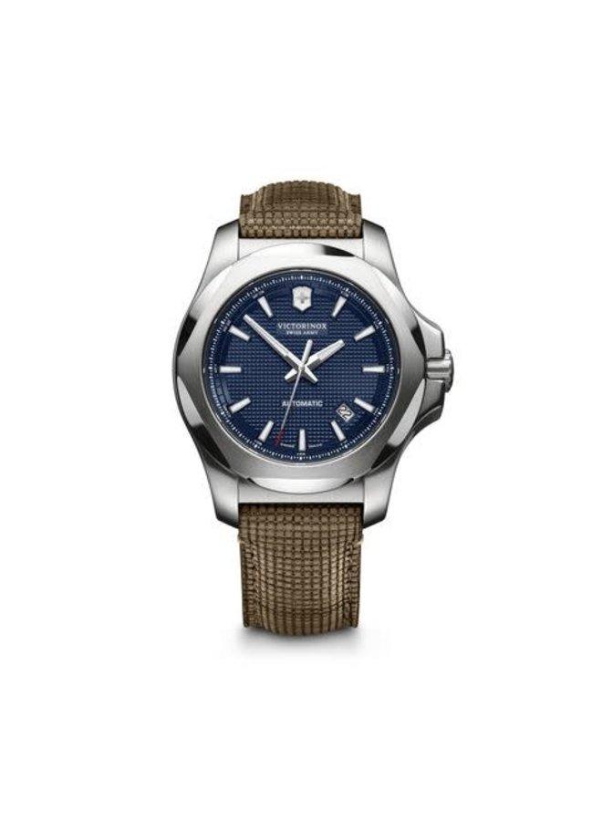 Victorinox swiss army automatique acier fond bleu bracelet cuir brun 43mm