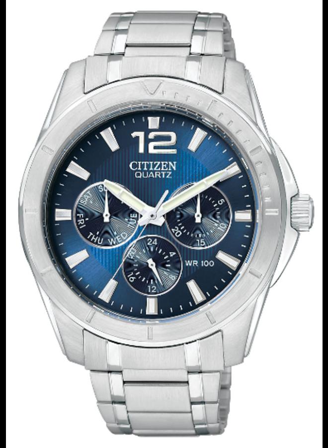 Citizen quartz acier fond bleu 40mm