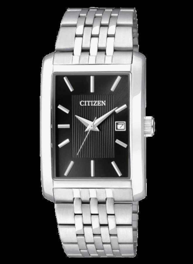 Citizen quartz acier fond noir rectangle 38.5x26mm
