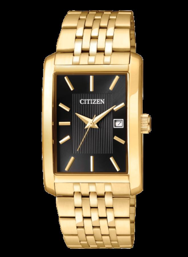 Citizen quartz acier doré fond noir rectangle 38.5x26mm