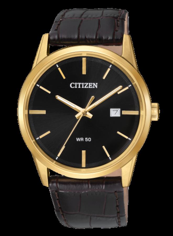 Citizen quartz acier doré bracelet cuir brun 39mm