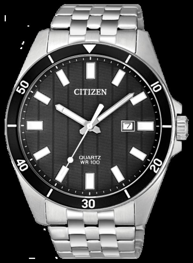 Citizen quartz acier fond noir 42mm