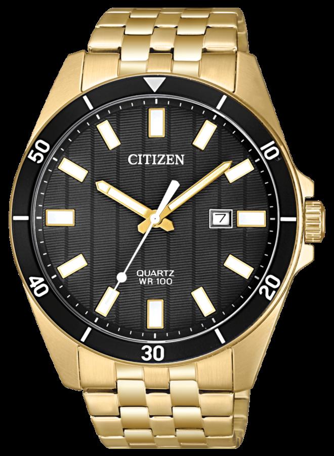 Citizen quartz acier doré fond noir 42mm