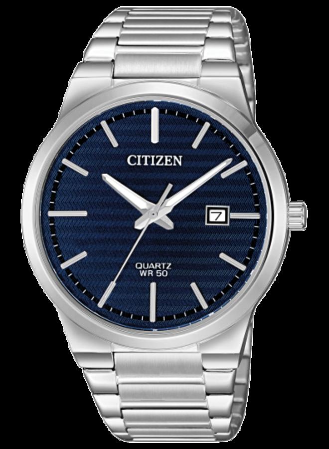 Citizen quartz acier fond bleu 39mm