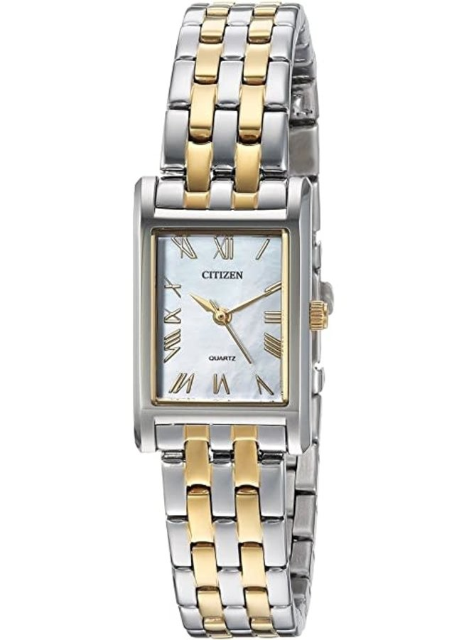 Citizen femme acier 2 tons rectangle Quartz