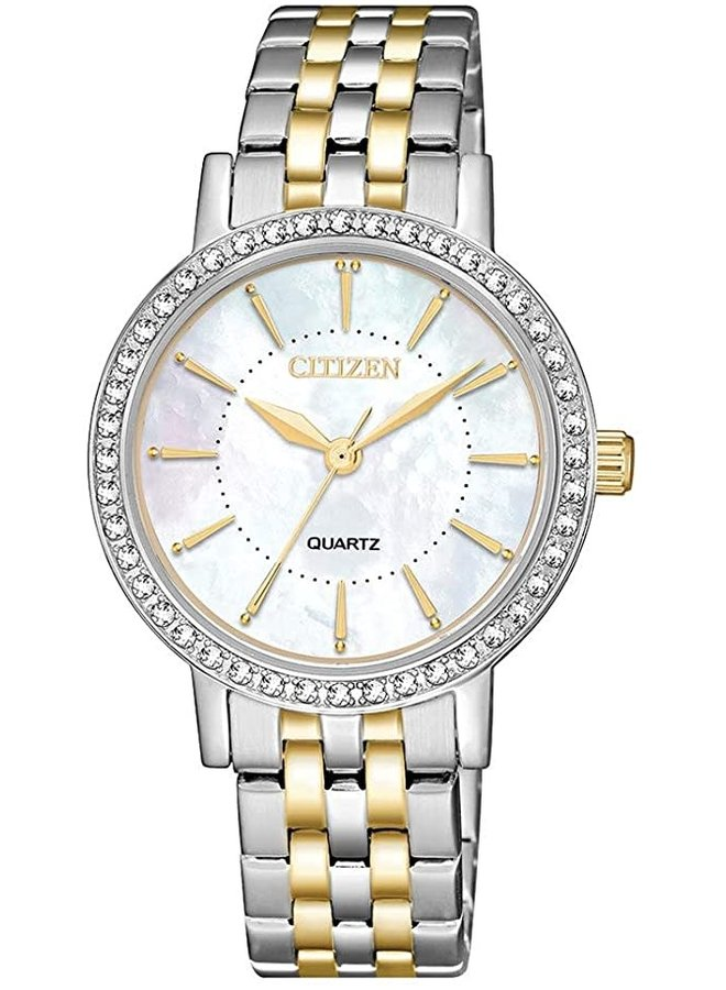 Citizen quartz acier 2 tons fond nacre zircon 31mm