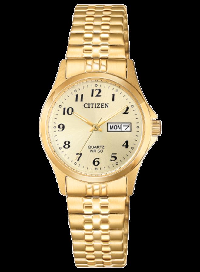 Citizen quartz acier doré bracelet extensible 26mm