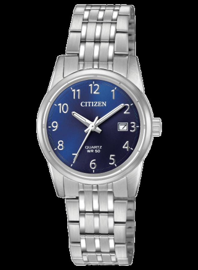 Citizen quartz acier dame fond bleu 27mm