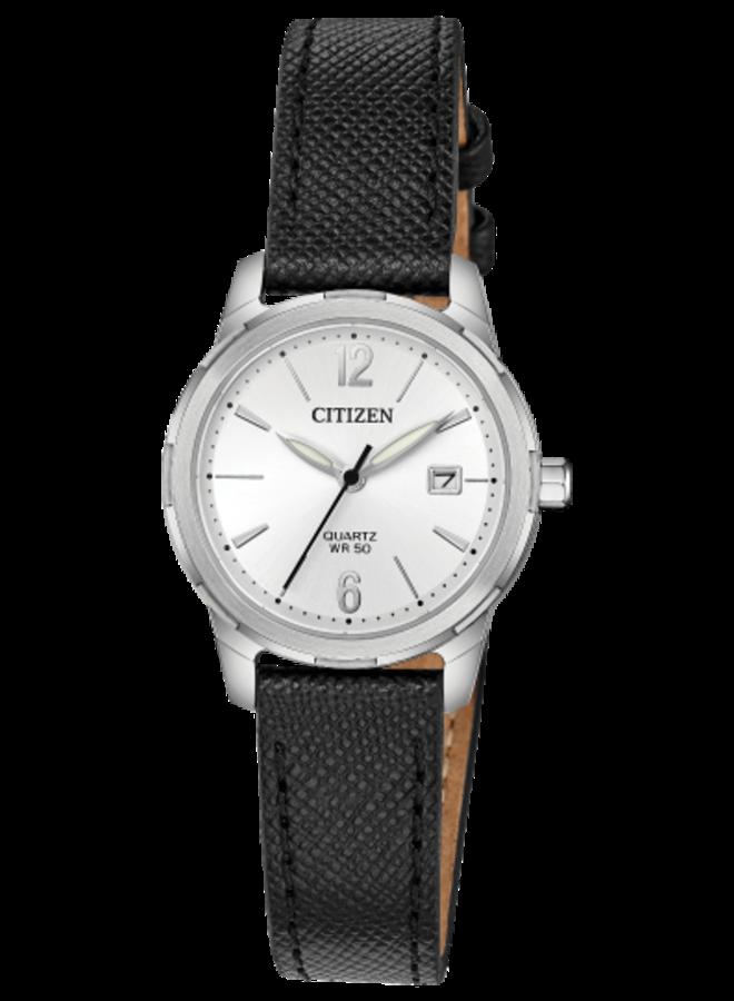 Citizen quartz acier fond blanc bracelet cuir noir 28mm