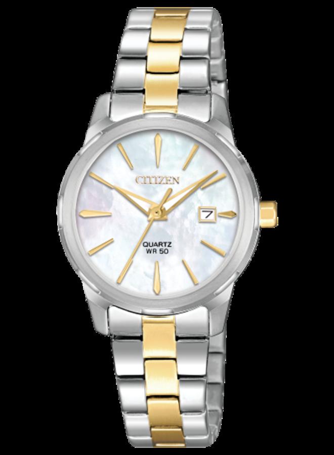 Citizen quartz acier 2 tons fond nacre 28mm