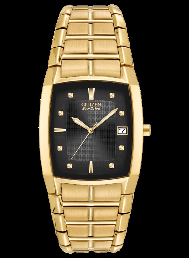 Citizen Eco-Drive tonneau gold-tone stainless steel case and bracelet