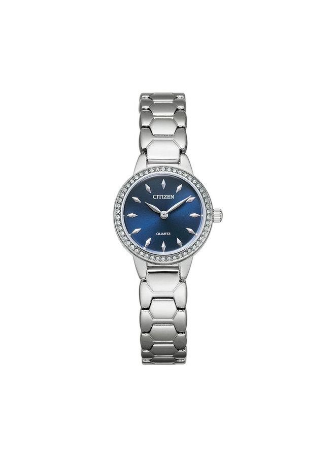 Citizen quartz dame acier fond bleu zircon 24mm