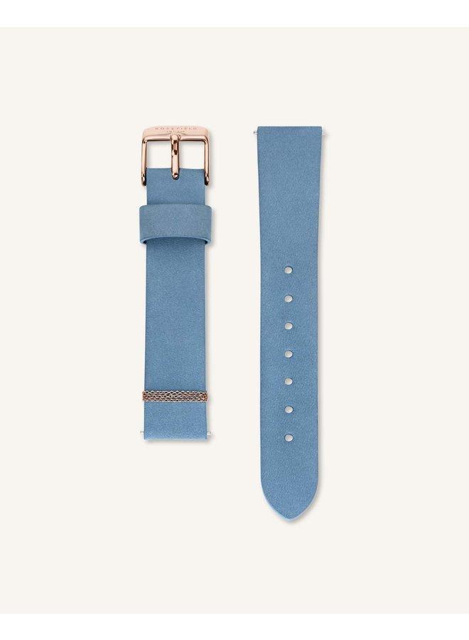 Rosefield acier rosé bracelet cuir bleu 33mm