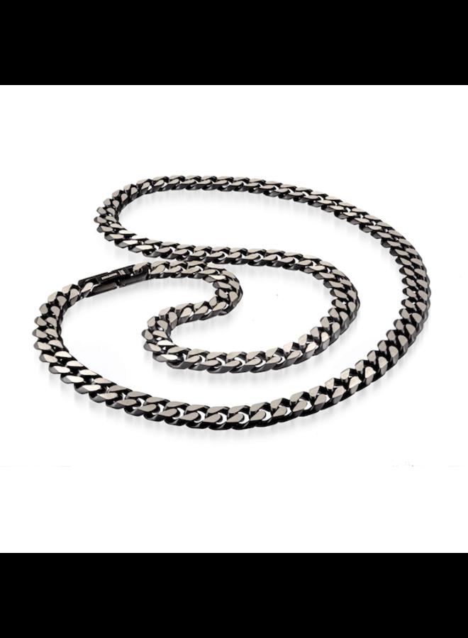 Chaine acier noir 24'' gourmette coupe diamanté