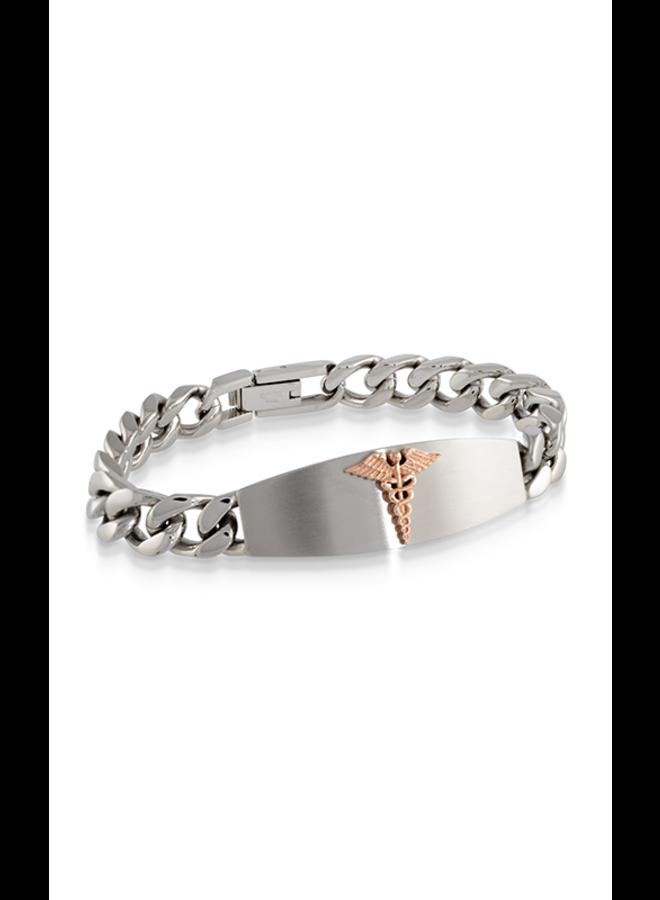 Bracelet medic alert acier8.5'' logo rose gourmette