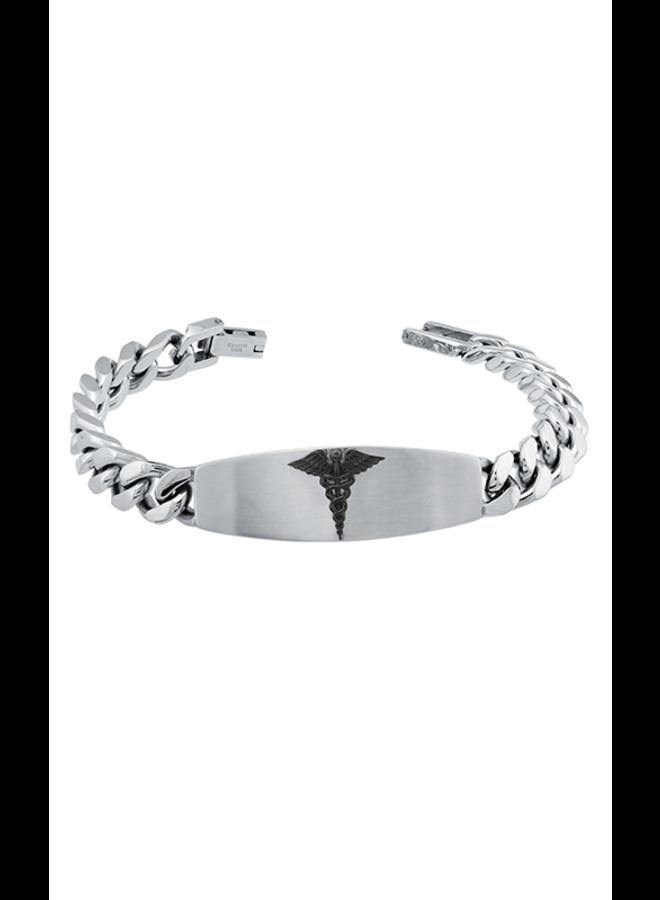 Bracelet medic alert acier inoxydable 8.5'' logo noir