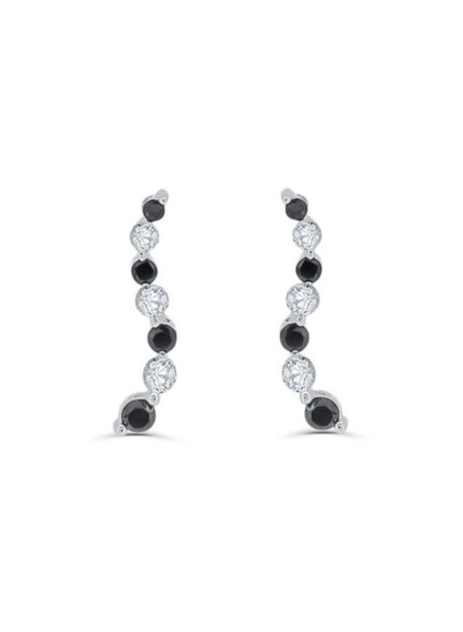 Boucles d'oreilles or blanc 10k avec diamants clair et noir