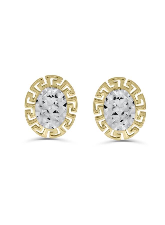 Boucles d'oreilles Versace fixe 2T 10K avec coupe diamant