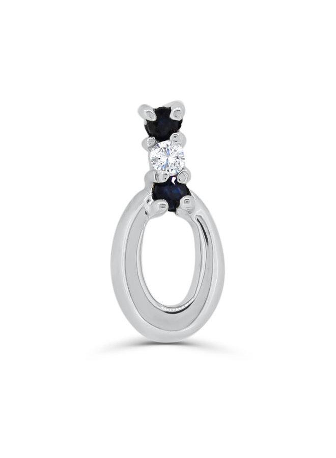 Pendentif en or blanc 10k avec un diamant et 2 saphirs