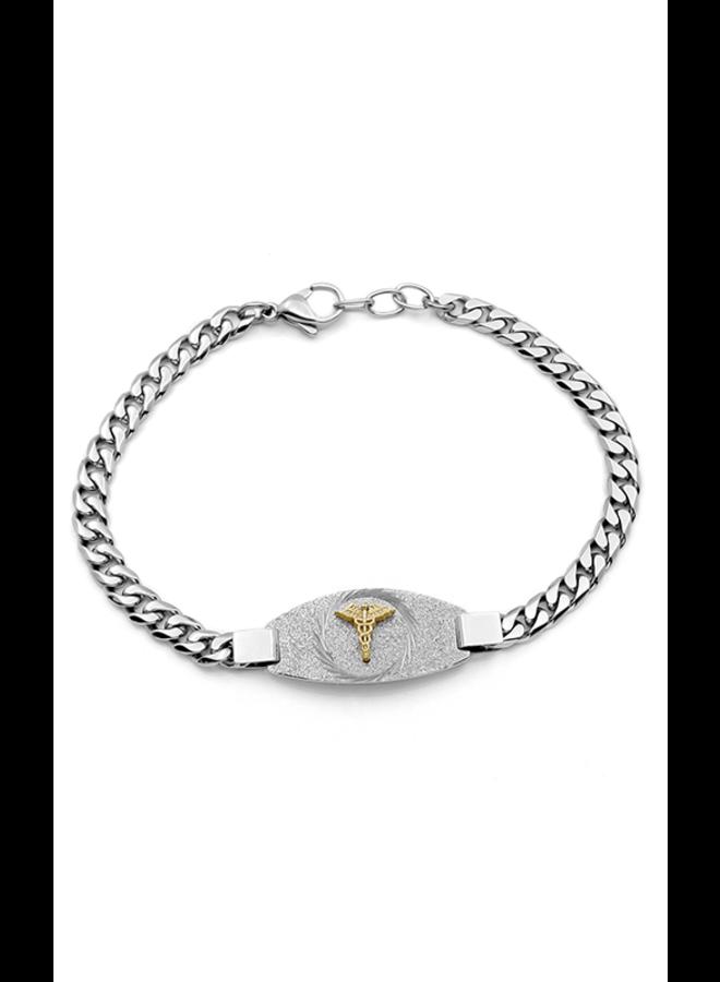 Bracelet medic acier inoxydable 7.25'' logo doré