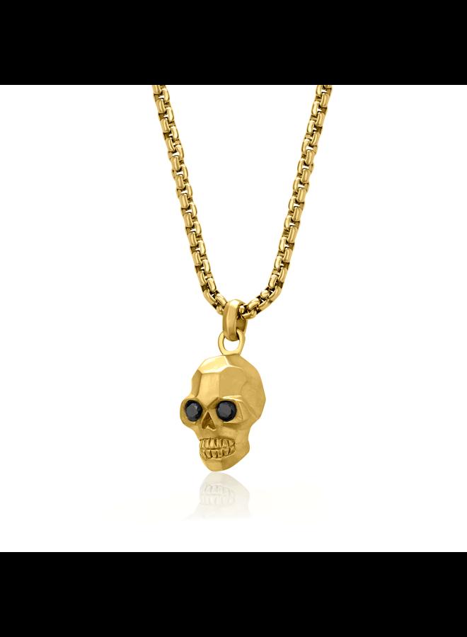Chaine et pendentif tête de mort acier doré 24'' carrée 3.5mm zircon noir