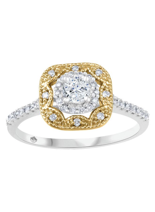 Bague 2 tons 10k à diamants