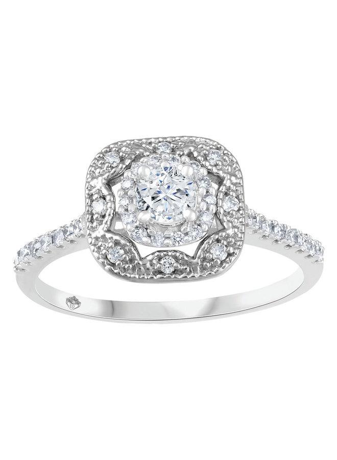 Bague or blanc 10k à diamants