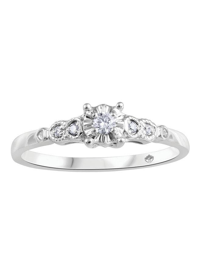 Bague 10k blanc diamant 0.03ct TW I GH