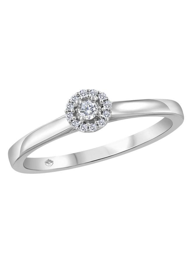 Bague halo or blanc 10k à diamants