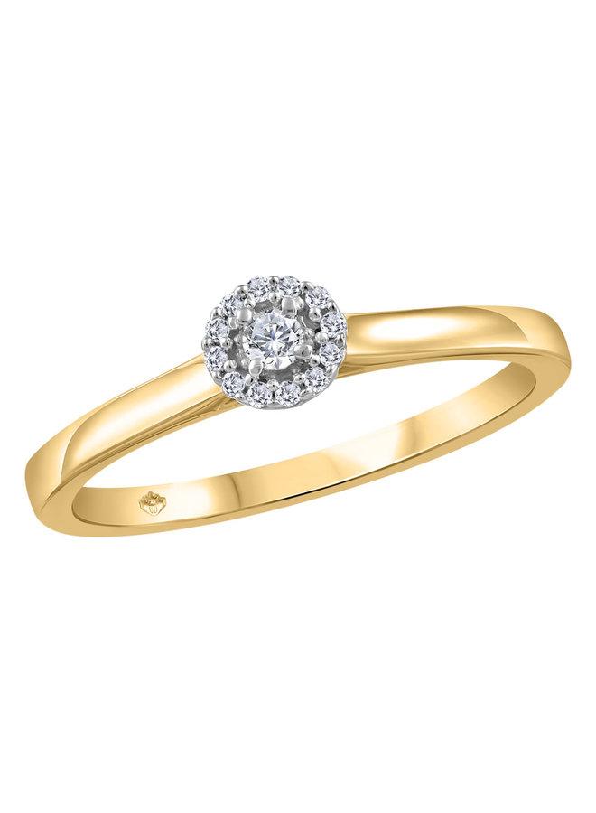 Bague halo or jaune 10k à diamants
