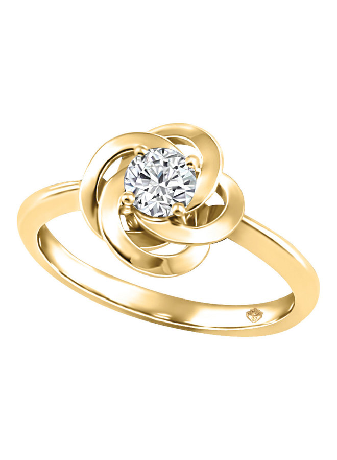 Bague or jaune 10k avec un diamant canadien