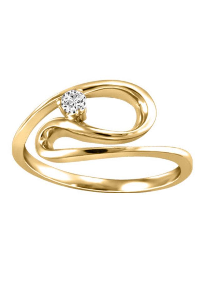 Bague or jaune 10k à diamant