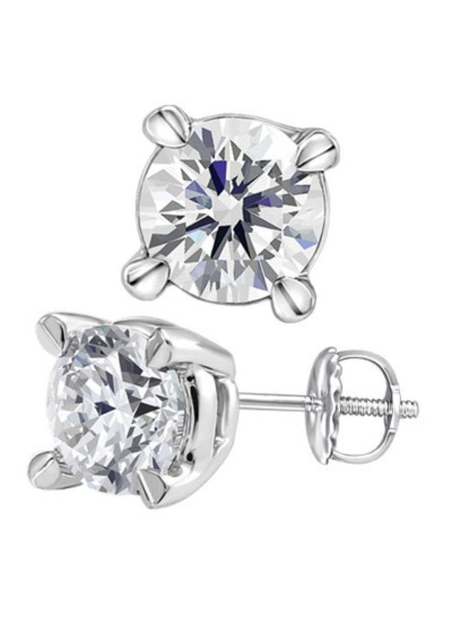 Boucles d'oreilles or blanc 14k à diamants 0.075 CT